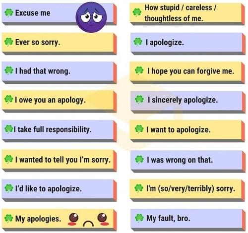 Những cách nói thay thế Sorry