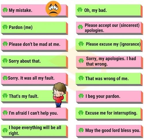 Những cách nói thay thế Sorry - 1