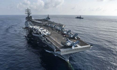 Tàu sân bay Mỹ hoạt động trên Thái Bình Dương hồi giữa năm nay. Ảnh: US Navy.