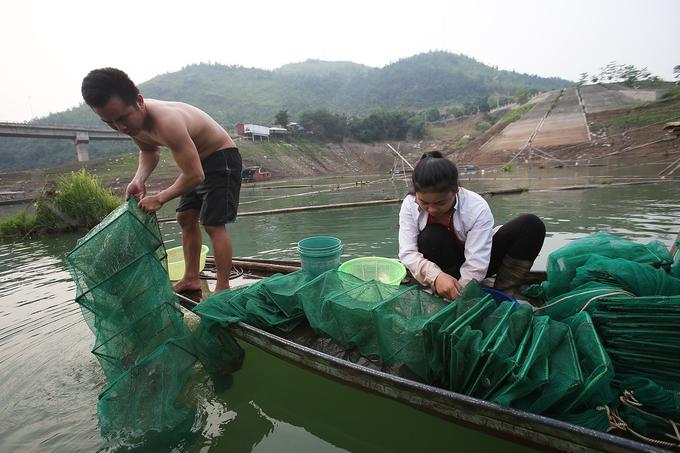 Kiếm tiền triệu nhờ nghề bắt tôm ở lòng hồ thủy điện Sơn La