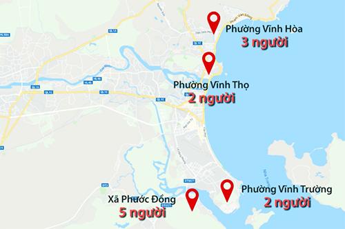Các điểm sạt lở có nạn nhân tử vong ở TP Nha Trang.