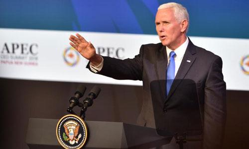 Phó tổng thống Mỹ Mike Pence phát biểu tại hội nghị APEC ở Papua New Guinea. Ảnh: CNN.