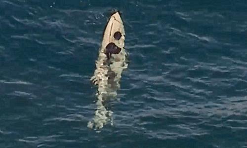 Thuyền bị lật úp do cá mập tấn công. Ảnh: Telegraph.