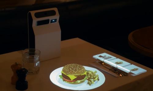 Máy chiếu giúp hiển thị hình ảnh 3D như món ăn thật