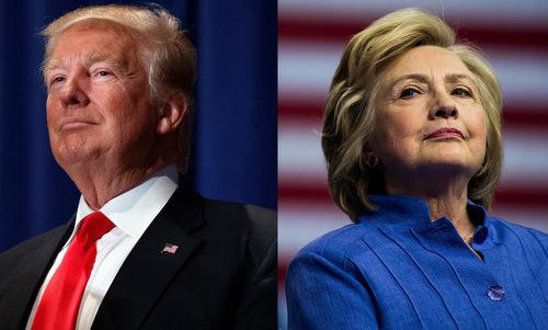 Tổng thống Trump và cựu ứng viên tổng thống Clinton. Ảnh: NY Times.