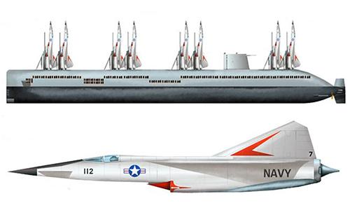Đồ họa tàu ngầm sân bay AN-1 và tiêm kích trên tàu do Boeing phát triển. Ảnh: H.I. Sutton.
