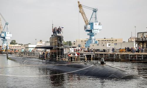Tàu ngầm USS Helena được sửa chữa hồi năm 2015. Ảnh: US Navy.