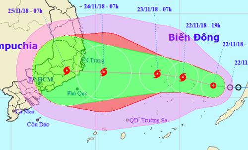 Dự báp hướng di chuyển và vùng ảnh hưởng của áp thấp nhiệt đới. Nguồn: NCHMF.