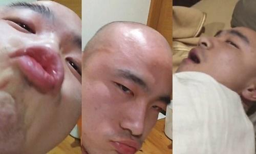 Một số hình ảnh của nhà sư Kai Hong được cắt ra từ video. Ảnh: SCMP.