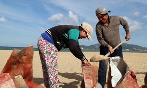 Người dân Nha Trang đổ xô ra bãi biển xúc cát chống bão