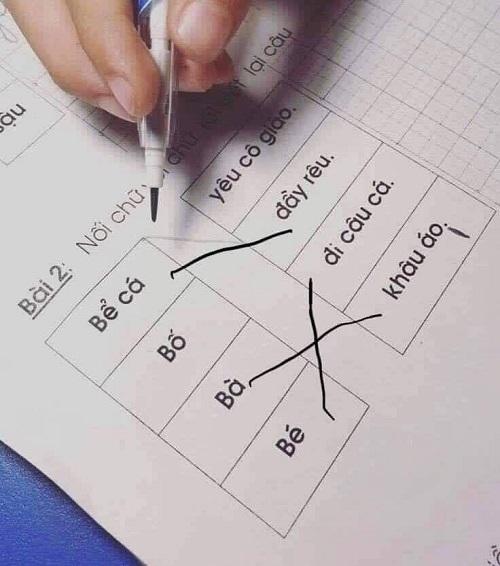 Khi bố làm bài tập hộ con.
