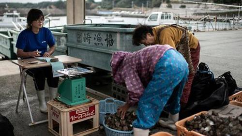 Sau mỗi buổi lặn, họ lại đem số hải sản lặn bắt được bán cho hợp tác xã. Ảnh: AFP.