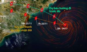 Đường đi thay đổi của bão Usagi