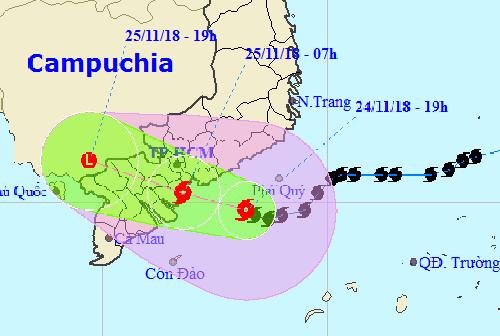 Hướng đi của bão Usagi theo dự báo của Trung tâm khí tượng thủy văn Trung ương.