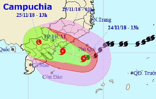 Đường đi của tâm bão Usagi lệch xuống phía Nam. Ảnh: NCHMF.