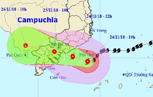 Đường đi của bão Usagi đã dịch chuyển xuống phía Nam.