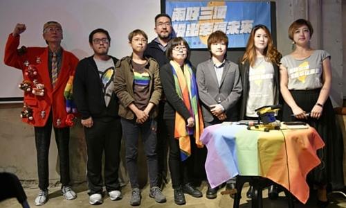 Các nhà hoạt động vì cộng đồng LGBT ở Đài Loan. Ảnh: AFP.