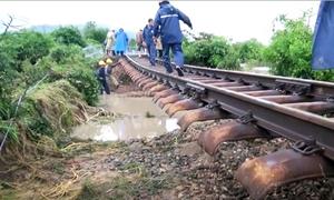 Gần 100 điểm xói lở trên tuyến đường sắt qua Ninh Thuận
