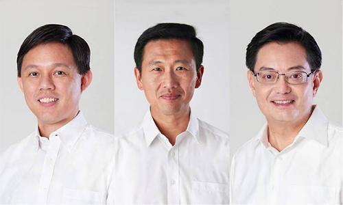 Từ trái qua, bộ ba lãnh đạo tiếp theo của PAP, Trần Chấn Thanh, Vương Ất Khang, Vương Thụy Kiệt. Ảnh: Independent.
