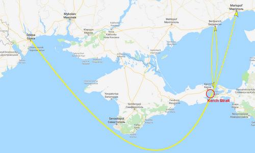 Hành trình của hai nhóm tàu Ukraine xuất phát từ Odessa và Berdyansk. Đồ họa: Drive.
