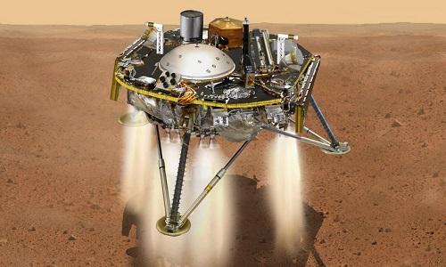 Tàu InSight hạ cánh xuống sao Hỏa. Ảnh: NASA.