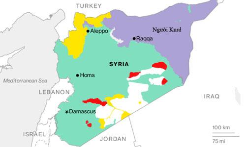 Các khu vực IS vẫn còn kiểm soát (màu đỏ) ở Syria. Đồ họa: IHS.
