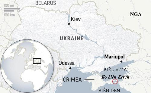 Eo biển Kerch là cửa ngõ duy nhất để tàu chiến Ukraine từ Odessa có thể tới được Mariupol. Đồ họa: AP.