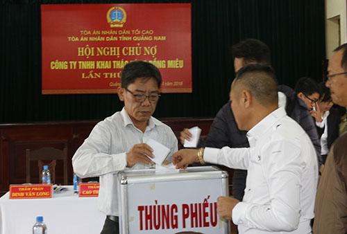 Các chủ nợ bỏ phiếu đồng ý phá sản công ty vàng Bồng Miêu. Ảnh: Sơn Thủy.