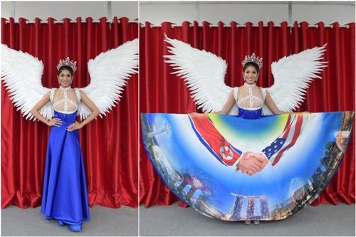 Quốc phục của Hoa hậu hoàn vũ Singapore 2018 Zahra Khanum. Ảnh: Straits Times.
