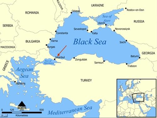 Eo biển Bosphorus nối biển Marmara với Biển Đen, chia cắt phần thuộc châu Âu với phần thuộc châu Á của Thổ Nhĩ Kỳ. Đồ họa: Yalta Map.
