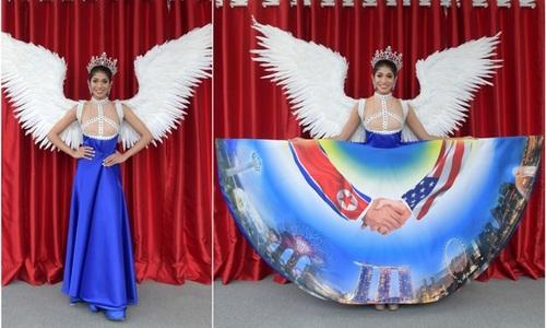 Hoa hậu Singapore mặc quốc phục lấy cảm hứng từ hội nghị Trump-Kim