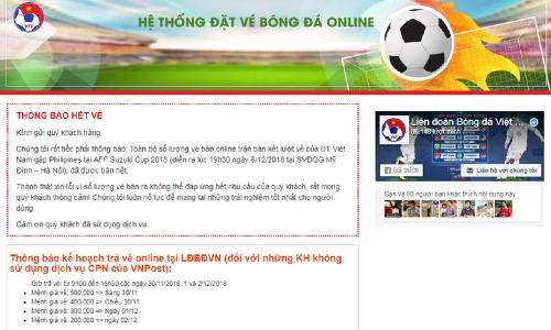 Thông báo hết vé trận Việt Nam - Philippines trên một trong bốn trang web bán vé online của VFF.