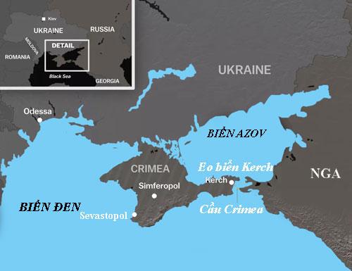 Vị trí eo biển Kerch, nơi ba tàu chiến Ukraine bị cảnh sát biển Nga bắt hôm 25/11 khi tìm cách tiến vào Biển Azov. Đồ họa: Mapbox.