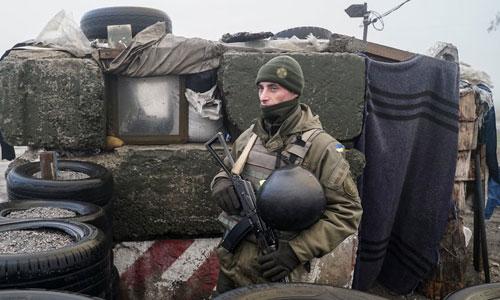 Lính Ukraine tại một chốt kiểm soát ởBerdyansk