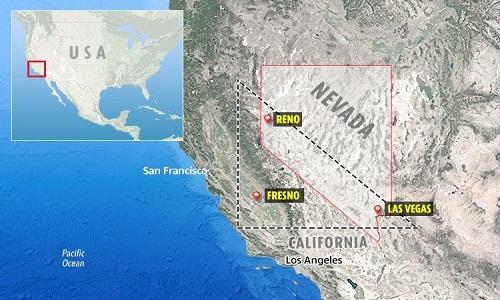 Tam giác Nevada có diện tích hơn 40.000 km2. Ảnh: Sun.