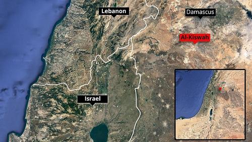 Thị trấn Al-Kiswah nằm gần biên giới Israel và Lebanon. Đồ họa: Ynet News.