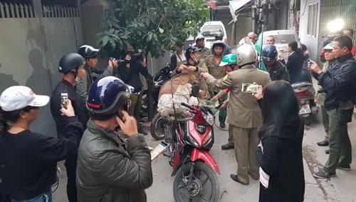 Buổi tuần tra bắt chó thả rông của đội phường Hạ Đình (Thanh Xuân, Hà Nội) sáng 30/11. Ảnh: Tất Định