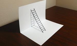 Dạy trẻ vẽ chiếc thang 3D với vài bước đơn giản