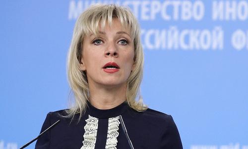 Phát ngôn viên Zakharova trong cuộc họp báo cuối tháng 11. Ảnh: TASS.
