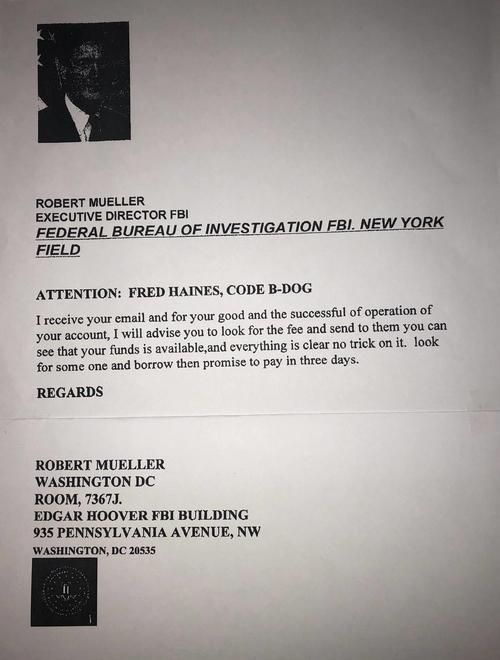 Kẻ xấu mạo danh Robert Mueller nguyên giám đốc FBI để lừa Fredrick Haines.