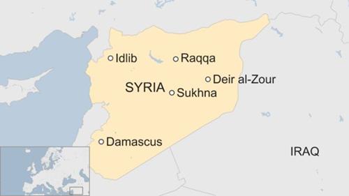 Vị trí thị trấn al-Sukhana (Sukhna), miền đông Syria. Đồ họa: BBC.