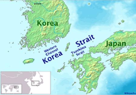 Vị trí eo biển Tsushima. Đồ họa: Wikipedia.