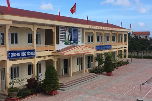 Nhà chức trách Quảng Ninh yêu cầu trường THCS Duy Ninh thu hồi phiếu khảo sát học sinh về hình phạt tát má. Ảnh: Hoàng Táo
