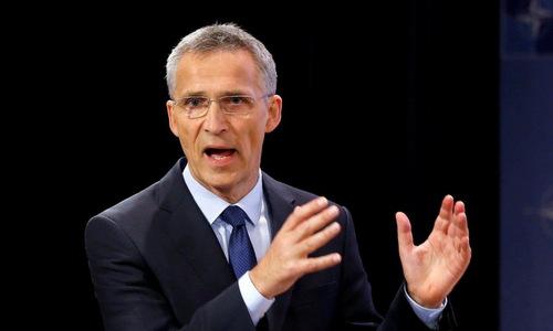 Tổng thư ký NATO trong một cuộc họp hồi giữa năm nay. Ảnh: NATO.