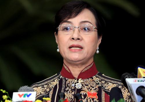 Chủ tịch HĐND TP HCM Nguyễn Thị Quyết Tâm phát biểu khai mạc kỳ họp thứ 12 HĐND TP HCM khóa IX. Ảnh: Hữu Khoa