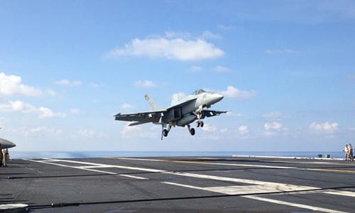 Máy bay chiến đấu F-18. Ảnh: AP.