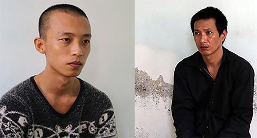 Nguyễn Văn Hân (bên trái) và Nguyễn Duy Minh tại cơ quan công an sau khi bị bắt lại. Ảnh: Cửu Long.