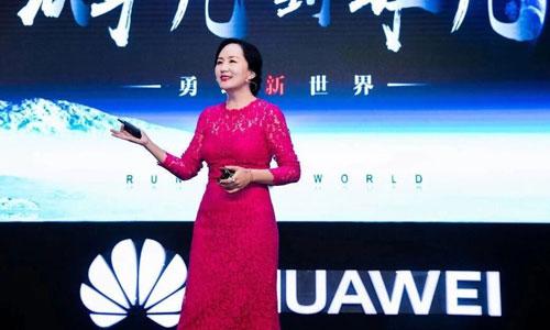 Bà Mạnh Vãn Chu trong một buổi thuyết trình về Huawei. Ảnh: JQKNews.