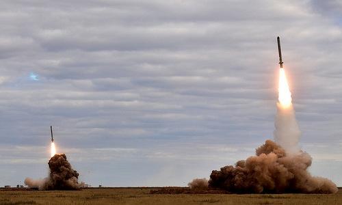 Tên lửa hành trình Iskander-K trong một cuộc tập trận của Nga. Ảnh: TASS.