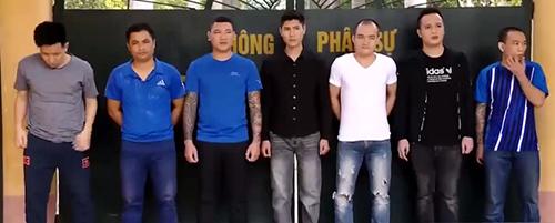 7 nghi can trong đường dây tín dụng đên đang bị tạm giam tại Thanh Hoá. Ảnh: C.A.
